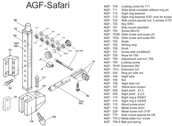 AGF Safari drawing + parts list