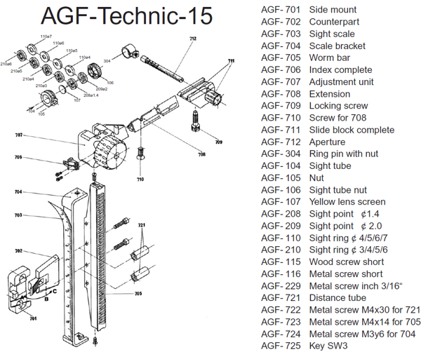 Technic-15 drawing + parts list