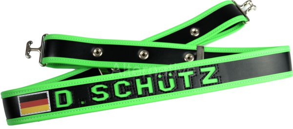Angel Belt - Black Base - Green Trim - with Naming in Green colour and Germany Flag