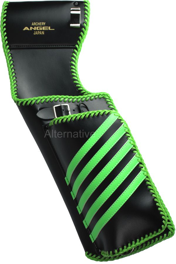 Angel Back Quiver - ABQ - Black Base - Green Stripes - Green Lace