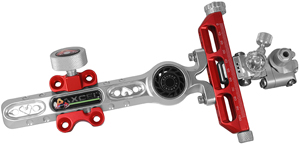 Axcel Achieve CX Compound Sight with Mathews Harmonic Damper - 6in model - red/silver