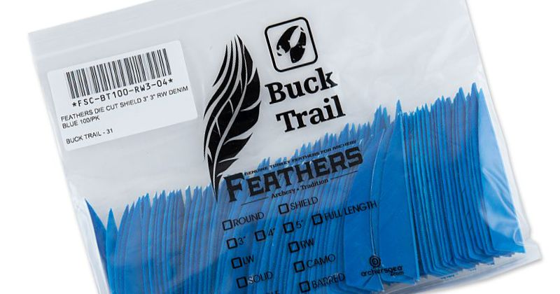 Buck Trail Feathers - 3in Shield (pk/100)