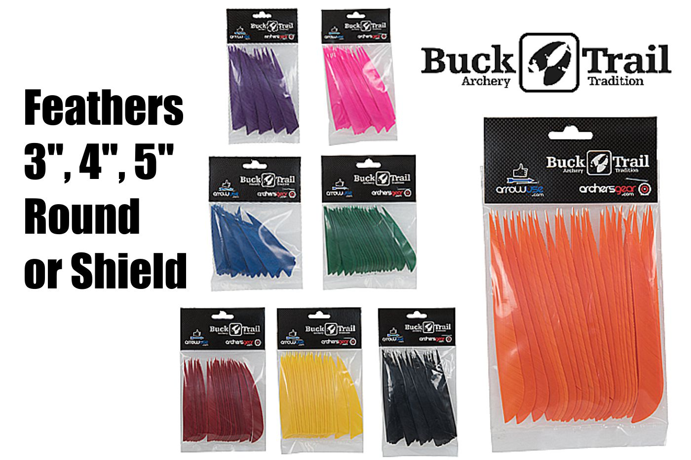 Buck Trail Feathers - 5in Shield (pk/24)