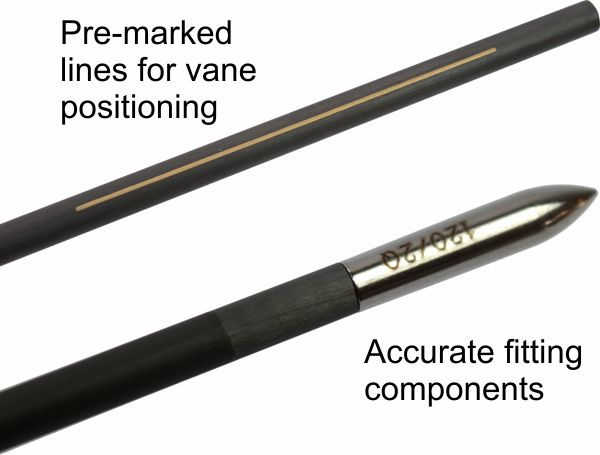 Fivics Nano XQ shafts - Features pre-marked lines for vane positioning and accurate fitting points (supplied separately)