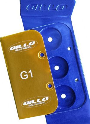 Gillo G1 riser - gold cover and barebow weight holes