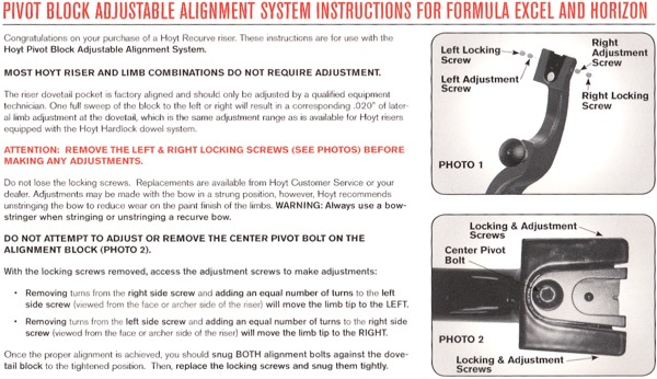 Hoyt Horizon/Excel limb alignment instructions
