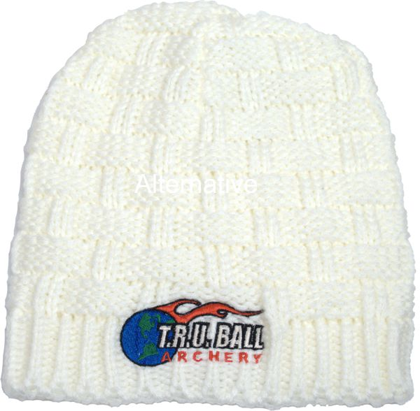 TRU Ball Quad Knit Beanie - White